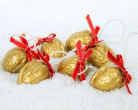 golden holiday decoration ideas,gold painted walnuts,gold painted walnuts with red ribbons,gold white red holiday decor,walnut decoration ideas,