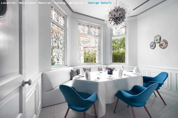 Macalister Mansion, Penang, Malaysia, Design Hotels, Hotel Design, Blue Color, Blue Interior, White Color, Dining Room, White Dining Room
