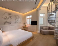 macalister mansion hotel penang,neutral color palette bedroom,circular staircase bedroom,creative wall decor ideas,hotel with bedroom and living room,