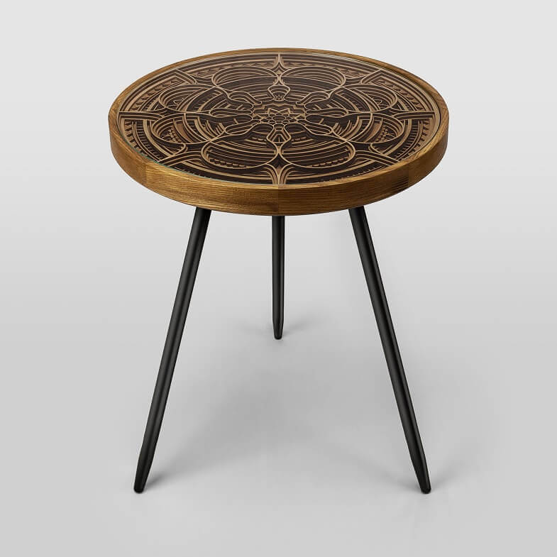 mandala inspired artwork,asian culture inspired tables,designer side tables for bedroom,modern side tables for living room,artistic wooden furniture,