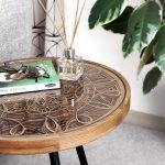 mandala inspired artwork,designer side tables for bedroom,modern side tables for living room,artistic wooden furniture,asian culture inspired tables,