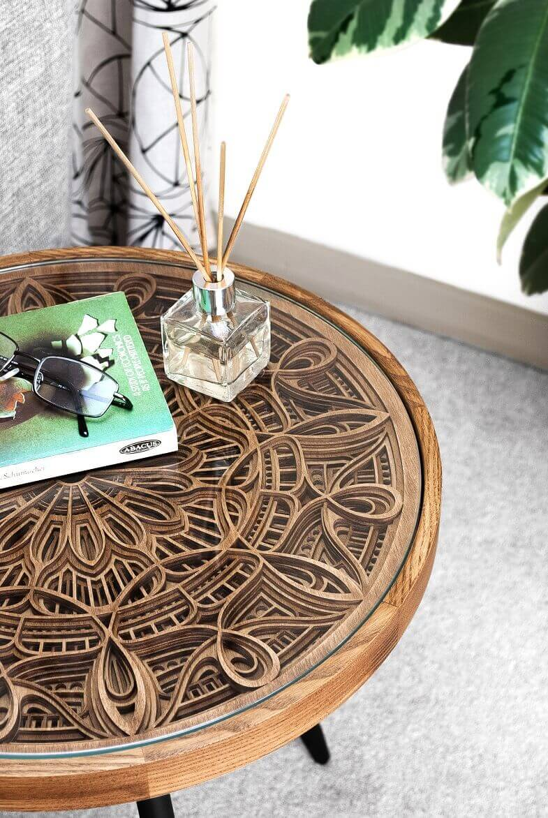 mandala inspired furniture,asian inspired furniture,tables inspired by spiritual culture,artistic wooden table designs,designer side tables for living room,