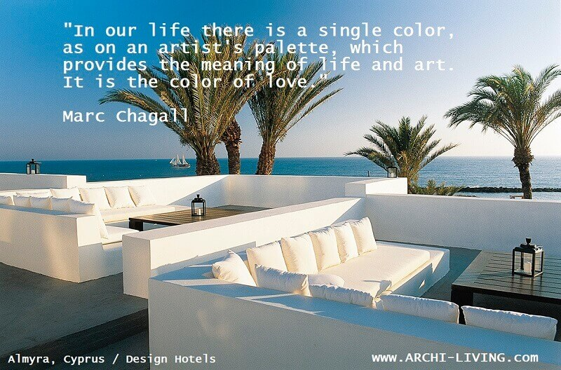 marc chagall quotes love,color quotes about love,quotes about color by artists,white and blue color scheme,almyra paphos a member of design hotels,