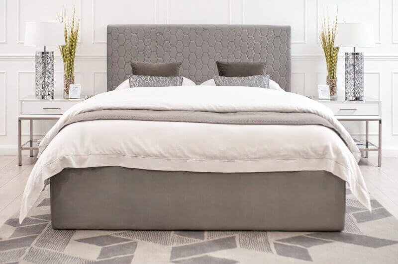 contemporary bedroom design ideas,bed design with velvet headboard,bed design with quilted headboard,neutral color palette bedroom,double beds with velvet headboard,