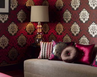 red and gold wallpaper designs,red brown and gold bedroom,luxury bedroom wall decor,high end fabrics for upholstery,vibrant colors in bedroom decor,