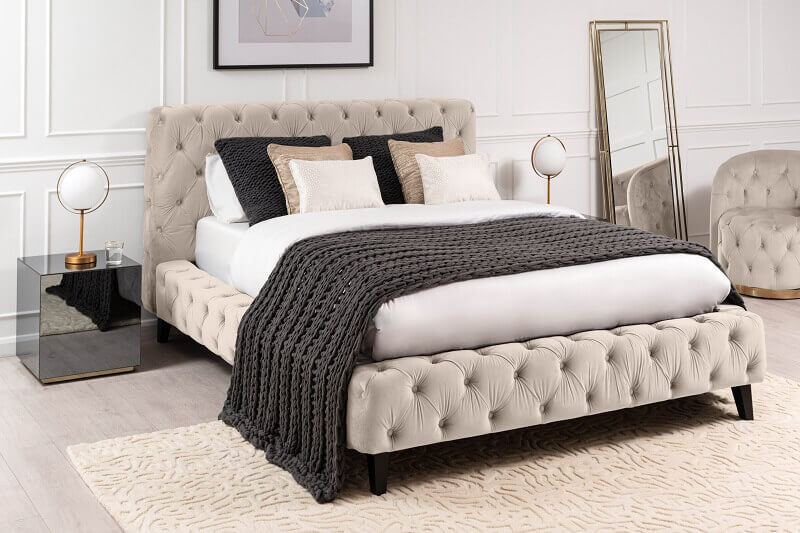 bed design with quilted headboard,neutral color palette bedroom,double beds with velvet headboard,contemporary bedroom design ideas,bed design with velvet headboard,