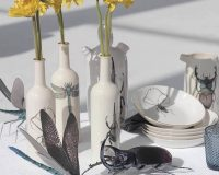 artistic water bottle,handmade porcelain water bottle,nature inspired tableware,insect inspired designs,dragonfly design tableware,