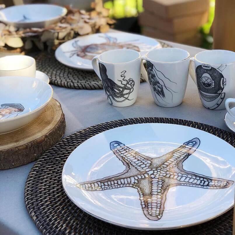 ocean inspired tableware,starfish inspired dinner tableware,spanish tableware manufacturers,handmade porcelain dinnerware,porcelain tableware manufacturers in europe,