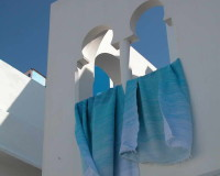 Morocco, Moroccan Architecture, Architecture, Windows, Moroccan Windows, White Color, Blue Color, White Color House, Blue Fabric, Color