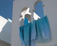 Morocco, Moroccan Architecture, Architecture, Windows, Moroccan Windows, White Color, Blue Color, White Color House, Blue Fabric, Color