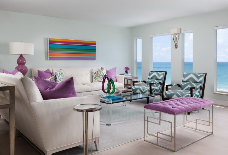 lavender color pillows,living room with a sea view,lilac and blue living room,white furniture living room,contemporary living room design,
