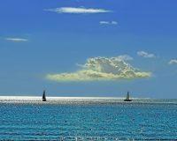 blue sea,blue sky,sailboats,