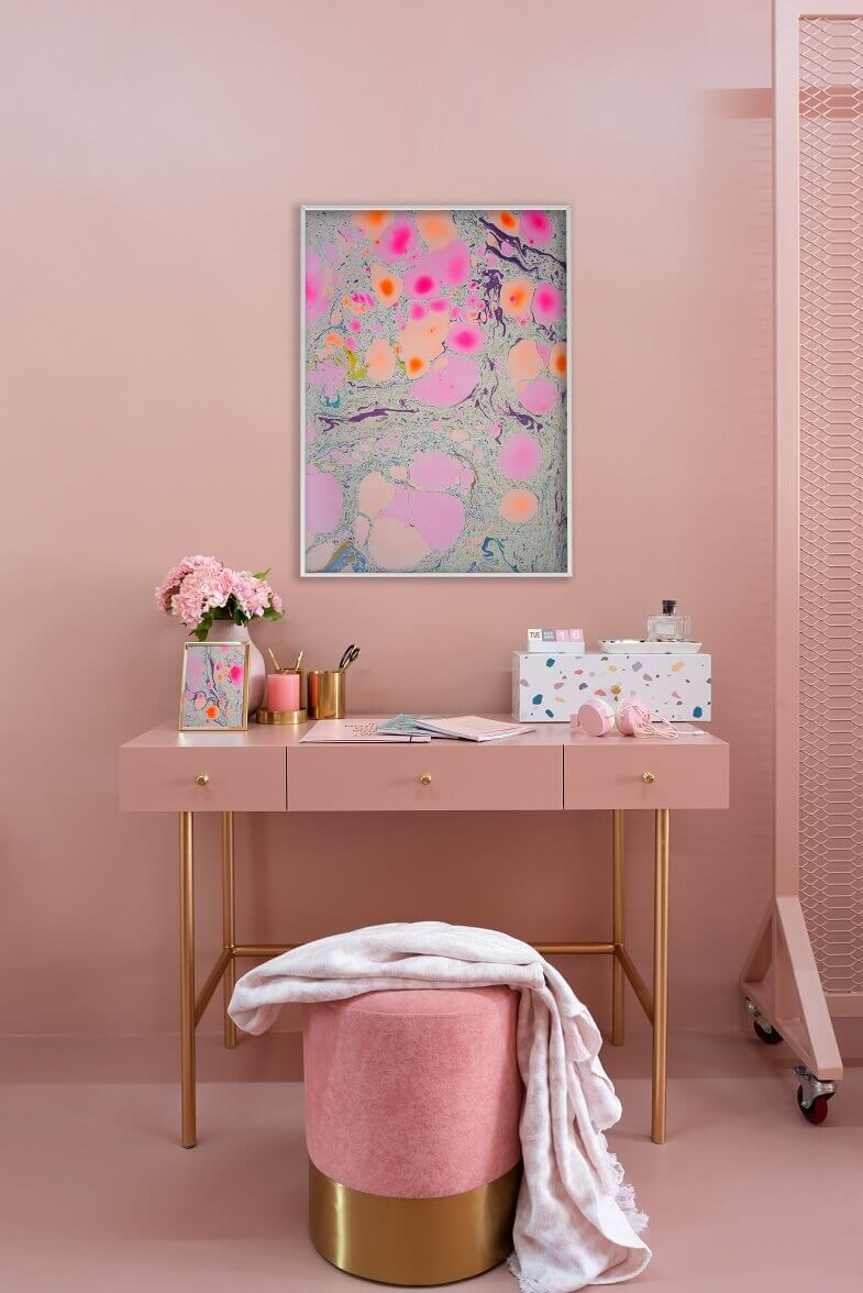 pink home office desk,colorful home office desk,wall art for home office,luxury feminine home office design,pink home office design,