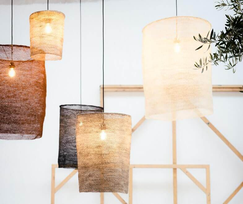 lamps made from sisal,ceiling lamps for bedroom,ceiling lamp made from natural materials,organic lighting fixtures,let's pause spanish furniture,