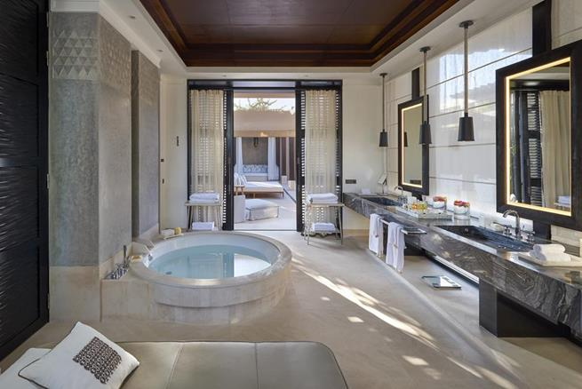 mandarin oriental hotel marrakech,luxury hotels in morocco,hotel spa design moroccan,luxury spa decor in neutral colors,stone spa design,