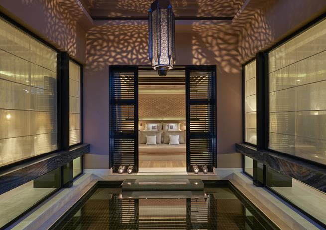 hotel spa design moroccan,luxury spa decor in neutral colors,stone spa design,mandarin oriental hotel marrakech,luxury hotels in morocco,