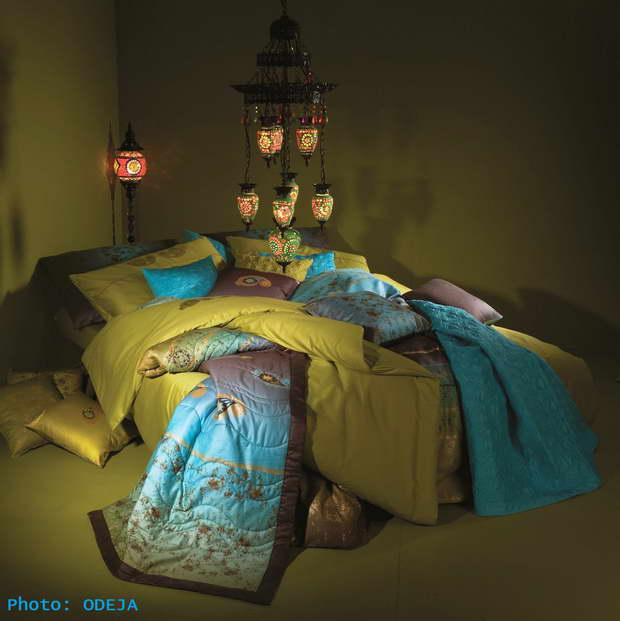 Bedroom, Bedroom Décor, Blue Color, Green Color, Bedding, Bedding Design, Odeja, Oriental Lamps
