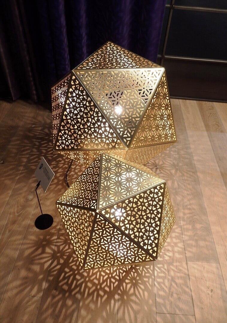 metallic geometric lamp,gold colored floor lamps,european lighting trends,salone del mobile milano trends,designer lighting ideas living room,