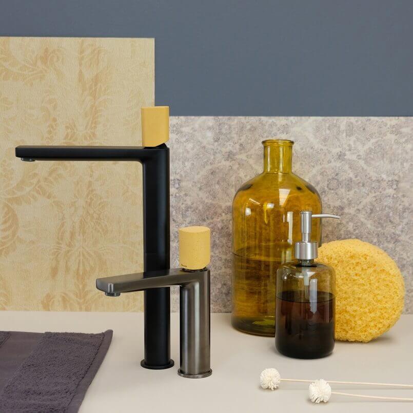sahara yellow décor,yellow bathroom color schemes,yellow sink faucet bathroom,yellow bathroom taps,sahara color palette bathroom ideas,