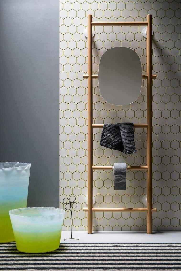 wooden mirror stand design,designer towel racks photos,natural wood bathroom decor,wooden bathroom ladder shelf,modern bathroom accessories decorating ideas,