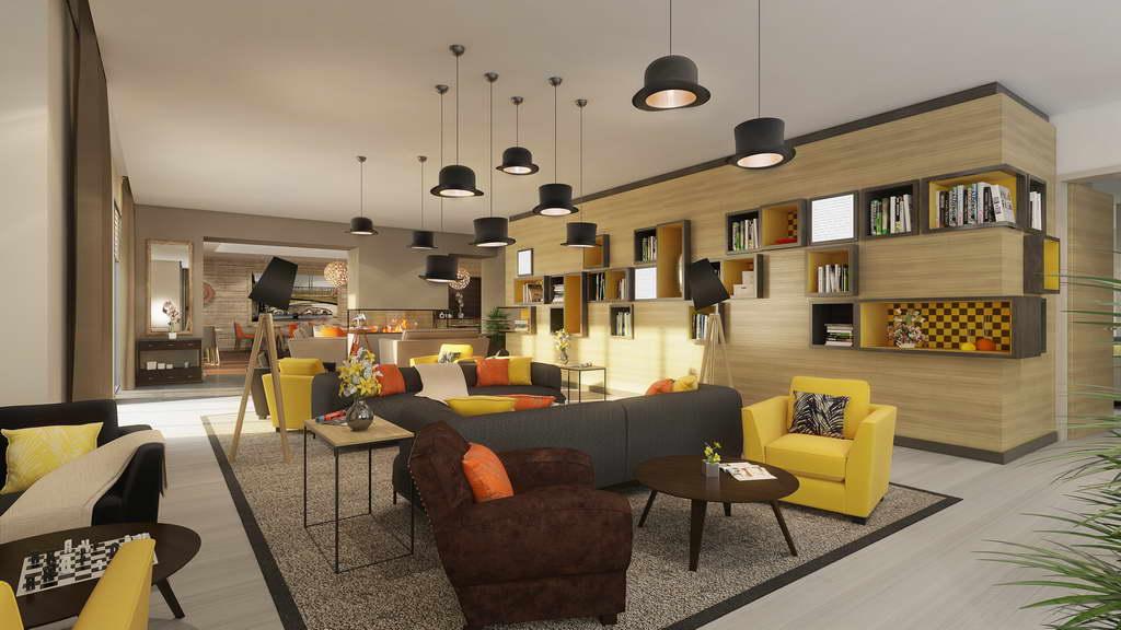 hat looking ceiling lights,bar and restaurant interior design ideas,sophie jacqmin architecte,yellow sofas for restaurant,french restaurant design,