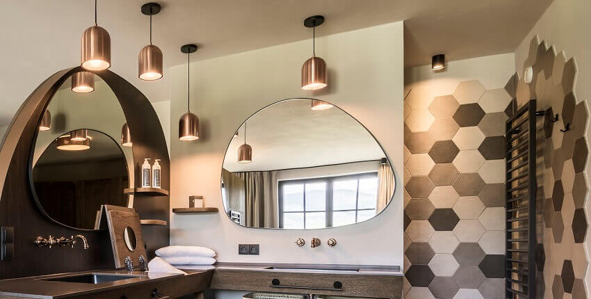 modern hotel bathroom design,designer mirror ideas,Seehof Hotel,wellness hotel design,washbasin in corian,