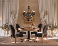 classic style dining room furniture,traditional style dining room chairs,black upholstered dining chairs,wooden round table design,black dining room chandelier,