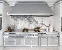stainless steel and wood kitchen cabinets,high end italian kitchen,silver gray kitchen design,winter kitchen decorating colors,professional kitchen equipment,