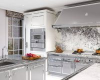 white kitchen tower unit,professional range hoods for home,brass kitchen dishes,high end silver gray kitchen cabinets,stainless steel and white cabinets,