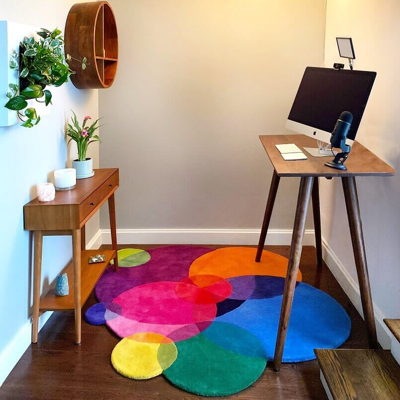 colorful rug in home office area,colors decor for home office,greenery home office interior design,small home office decor ideas,tall standing computer desk,