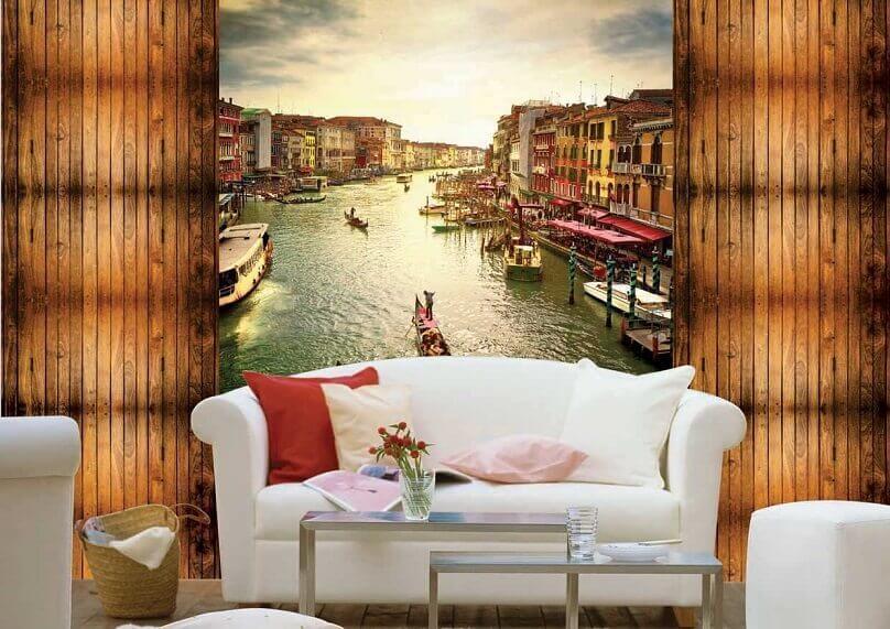 venice wallpaper,weekend house design ideas,wall decor ideas,living room decor,white sofa design,