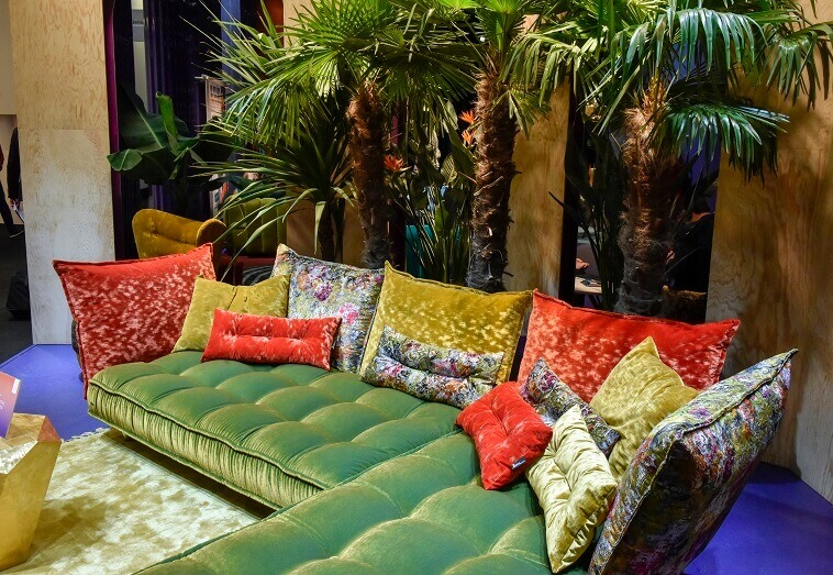 colourful corner sofa,designer color furniture,color trends 2020 home decor,imm cologne furniture fair 2020,colors in living room,