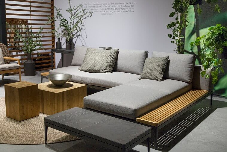 wood outdoor sectional seating,grey corner outdoor furniture,wooden garden coffee table,large grey cushions for sofa,how to design a terrace,