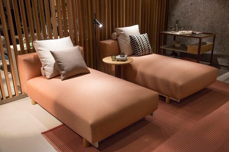 chaise longue sofa design,orange contemporary sofa,living room interior design trends 2020,colorful furniture living room,color of the year 2019 pantone,
