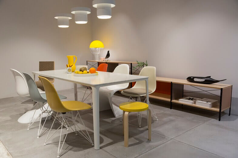 trendy dining tables and chairs,dining room design trends 2020,yellow and white chairs,imm cologne dining room design,designer dining furniture ideas,