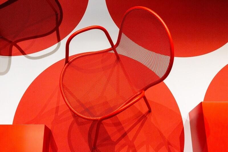 red furniture design ideas,super salone del mobile 2021,red chair design,chairs at supersalone in milano,furniture design trade shows,