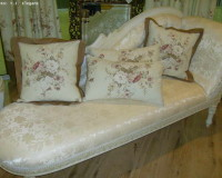 shabby elegance bedroom lounge,shabby chic chaise lounge,floral cushions for bedroom,french chateau style decor,luxury white bedroom design,