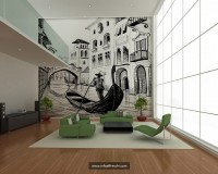 venetian themed interiors,venice gondola wall art,green seating furniture,modern living room design,large living rooms,