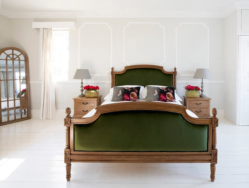 wood and velvet bed ideas,green velvet bed decor,solid oak bedroom furniture,french style bedroom design,romantic french bedroom furniture,