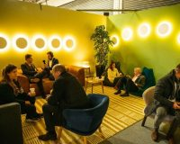 new trends in restaurants 2019,sleep & eat olympia london,hospitality interior design trends,lighting in bar design,green and yellow combination wall paint,