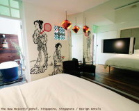 mirror across from bed,design hotels in singapore,mirror on entire wall,hotel room design mirror,asian hotel design interior,