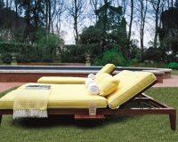 mahogany sun lounger,yellow cushions for sunbed,sunbathing in the garden,luxury sun lounger chairs,sun lounger with side table,