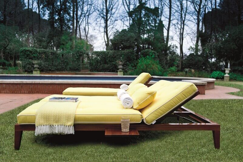 luxury sun lounger chairs,sun lounger with side table,mahogany sun lounger,yellow cushions for sunbed,sunbathing in the garden,
