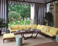 mahogany corner sofa outside,yellow sofa cushion covers,luxury outdoor living spaces,outdoor mahogany coffee table,nautical stripe curtains,