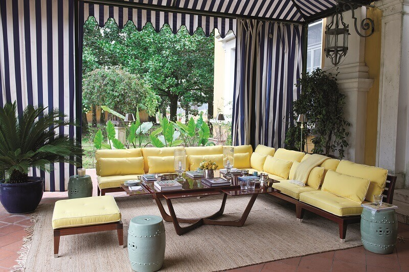 mahogany corner sofa outside,yellow sofa cushion covers,luxury outdoor living spaces,outdoor mahogany coffee table,nautical stripe curtains,