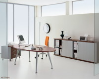 how to design a manager office,modern office design images,orange chair in office,large metal and wood office desk,high end office furniture brands,