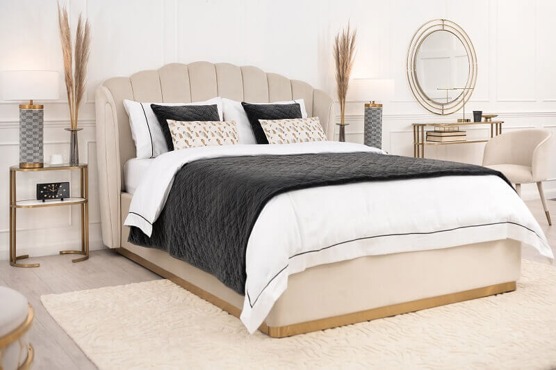 bed design inspired by Venus,furniture inspired by art,artistic bed design,romantic bedroom,neutral color palette bedroom,