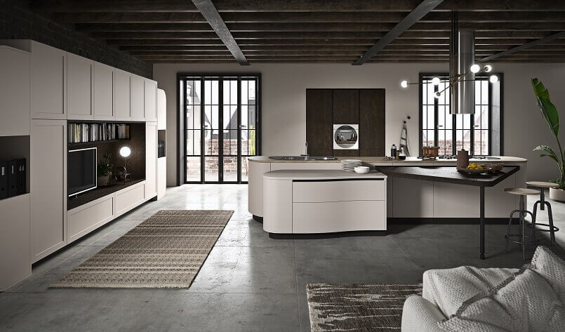 luxury kitchen islands with snack table design,modern white high end kitchen furniture,modern tv unit with bookshelf in kitchen,open space kitchen dining and living room,design light fixture above island kitchens,