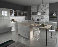 contemporary white and gray kitchen,open space kitchen layout,high end kitchen island designs,designer kitchen lighting fixtures,kitchen wall cabinets with glass doors,
