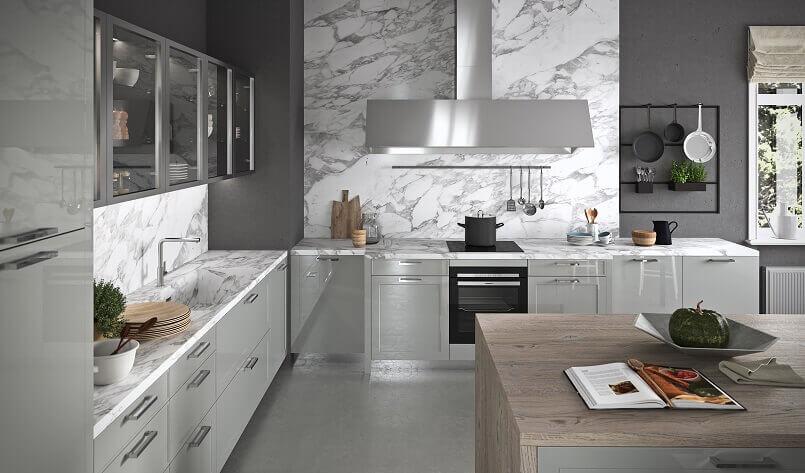 modern grey kitchen with island,italian kitchen furniture manufacturers,carrara marble countertop and backsplash,gray kitchen cabinets with glass doors,large inox hoods kitchen ideas,